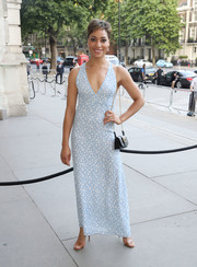 Cush Jumbo looked airy in a sleeveless, deep-V floral dress at the V&A summer party.