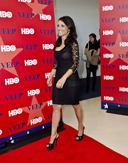 Julia Louis-Dreyfus arrived for a screening of 'Veep' wearing a sexy pair of black platform slingbacks.