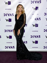 Ciara was a true diva in this black bead-saturated gown with mesh sleeves at VH1 Divas.