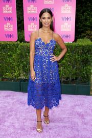 Rocsi Diaz channeled summer in a blue openwork sundress by Self-Portrait for VH1's Dear Mama event.