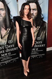Ayelet Zurer was rocker-chic in a black one-shoulder leather dress at the VIP screening of 'Last Days in the Desert.'