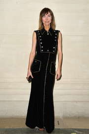 Anya Ziourova was stylish in a military-inspired black evening dress at the Valentino Couture fashion show.