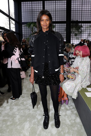 Liya Kebede's embellished mini skirt provided a girly contrast to her edgy jacket.