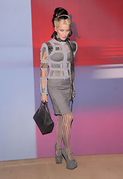 Daphne Guinness opted for gray suede platform Mary-Jane pumps at the Valentino soiree.