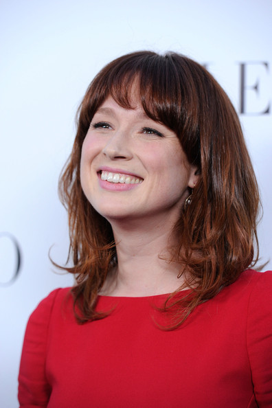 More Pics of Ellie Kemper  Medium Wavy Cut with Bangs (1 of 11) - Ellie Kemper  Lookbook - StyleBistro