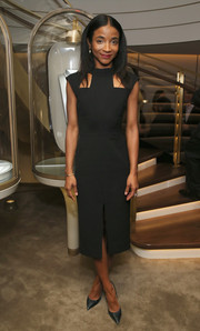 Genevieve Jones showed off her modern style with this sleek cutout LBD at the Van Cleef & Arpels cocktail party.