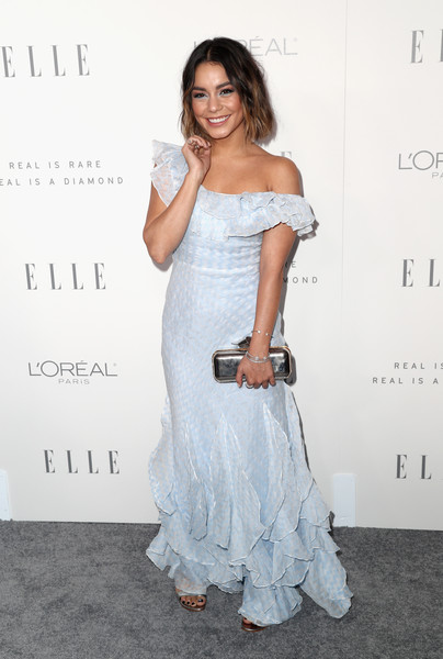 Vanessa Hudgens Metallic Clutch [elle,fashion model,shoulder,flooring,joint,gown,fashion,cocktail dress,long hair,girl,carpet,los angeles,four seasons hotel,california,beverly hills,24th annual women in hollywood celebration - arrivals,24th annual women in hollywood celebration,vanessa hudgens]