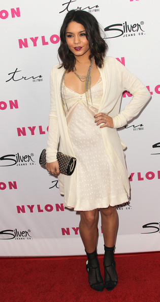 Vanessa Hudgens Cocktail Dress [sucker punch,clothing,dress,cocktail dress,shoulder,hairstyle,footwear,joint,fashion,carpet,leg,vanessa hudgens,cast,cast,tru hollywood,hollywood,california,party,nylon magazine,anniversary issue party]