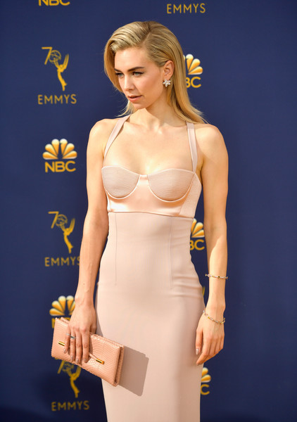 Vanessa Kirby Leather Clutch [clothing,waist,yellow,cocktail dress,dress,fashion model,fashion,blond,undergarment,shoulder,arrivals,vanessa kirby,emmy awards,70th emmy awards,microsoft theater,los angeles,california]