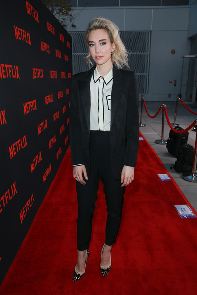 Vanessa Kirby Pumps [red carpet,suit,carpet,clothing,formal wear,flooring,pantsuit,tuxedo,fashion,premiere,vanessa kirby,for your consideration,north hollywood,california,saban media center,netflix,the crown,red carpet,event,event]