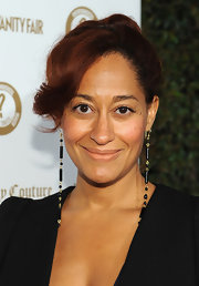 Tracee Ellis Ross wore a pair of extra long dangling earrings to a Vanity Fair event in Hollywood.