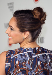 Kelly Brook fixed her locks into a cute twisted bun for the Fiat Young Hollywood celebration.