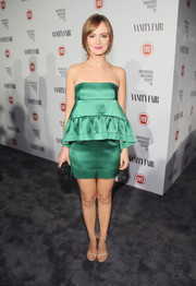 Ahna O'Reilly worked a green Marni strapless mini with an exaggerated peplum accent during the Fiat Young Hollywood celebration.