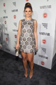 Maria Menounos went for a glam '60s vibe in an intricately beaded Gucci shift dress at the Fiat Young Hollywood celebration.