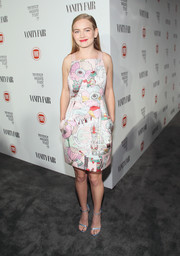 Britt Robertson sported a cute and festive print dress at the Fiat Young Hollywood celebration.
