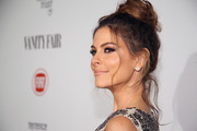 Maria Menounos brushed her locks up into a sophisticated top knot for the Fiat Young Hollywood celebration.
