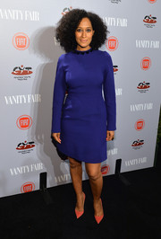 Tracee Ellis Ross kept it modest in a long-sleeve blue sheath dress during the Young Hollywood celebration.
