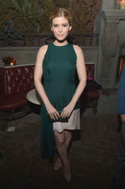 Kate Mara went for simple sophistication at the Young Hollywood celebration with this asymmetrical green and white Christian Dior dress.
