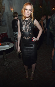 Rumer Willis looked oh-so-hot in a black sheer-panel leather dress by Hernan Lander during the Young Hollywood celebration.