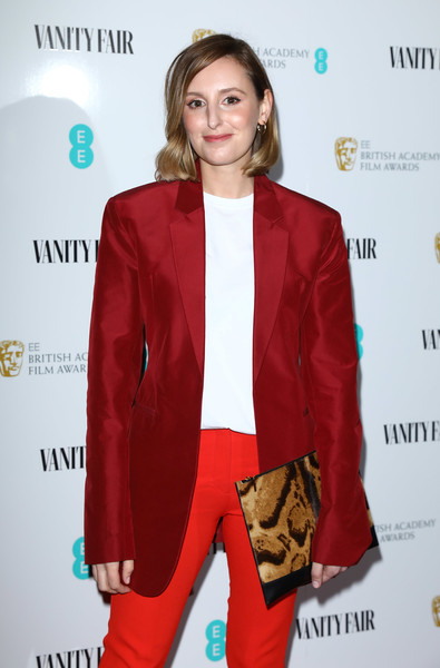More Pics of Laura Carmichael Printed Clutch (1 of 2) - Clutches Lookbook - StyleBistro [clothing,suit,red,outerwear,fashion,blazer,formal wear,pantsuit,fashion design,carpet,red carpet arrivals,laura carmichael,england,london,vanity fair,ee,rising star party,the baptist,ee rising star party]