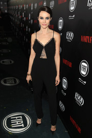 Abigail Spencer went for easy sophistication in a black lace-panel cami jumpsuit at the Vanity Fair and Fiat Young Hollywood celebration.