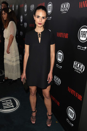 Jordana Brewster added spice to her look with a pair of bondage-chic heels by Jimmy Choo.