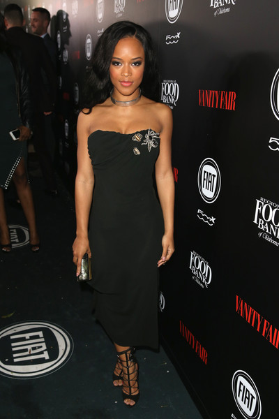 Serayah complemented her dress with chic black gladiator heels.