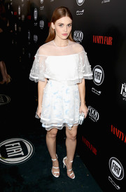 Holland Roden was prom-chic in a floaty white cocktail dress during the Vanity Fair and Fiat Young Hollywood celebration.