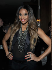 Ciara wore a bright orange-red nail polish at the 'Vanity Fair' and Fisker Automotive Golden Globes event.