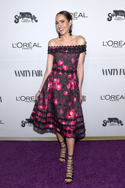 Louise Roe oozed girly appeal in a floral off-the-shoulder dress by Kate Spade at the Toast to Young Hollywood event.