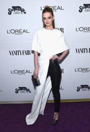 Lydia Hearst tied her look together with a black box clutch.