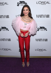 Rowan Blanchard pulled her look together with a pair of silver peep-toes.