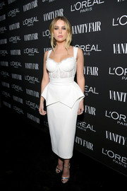 Ashley Benson looked seductive in a white Ester Abner corset dress with a peplum waist at the Vanity Fair New Hollywood celebration.