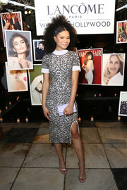 Storm Reid looked mature and chic in a body-con embroidered dress by Jonathan Simkhai at the Vanity Fair and Lancome Women in Hollywood event.