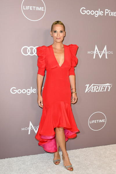 Molly Sims looked sweet and glam in a red high-low cocktail dress by Silvia Tcherassi at the 2019 Variety Power of Women: Los Angeles.