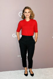 Natalie Portman was casual-chic in a red crewneck sweater by Celine at the 2019 Variety Power of Women: Los Angeles.