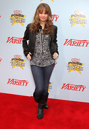 Debby Ryan opted for a low-key look in flat slouchy black leather boots.