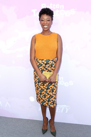 Samira Wiley continued the summery vibe with a floral pencil skirt.