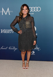 Bethany Mota donned a classic polka-dot tie-neck dress by Diane von Furstenberg for Variety's Power of Women luncheon.