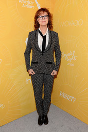 Susan Sarandon looked a little quirky in her patterned gray pantsuit at the Variety Power of Women event.