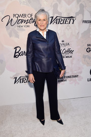 Glenn Close paired an indigo leather jacket with black slacks for the Variety Power of Women event.