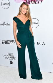 Blake Lively worked an emerald off-one-shoulder jumpsuit by Brandon Maxwell at the Variety Power of Women event.