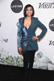 Taraji P. Henson looked cool in a dual-textured teal blazer by Off-White, which she wore as a dress, at Variety's Power of Women: New York.