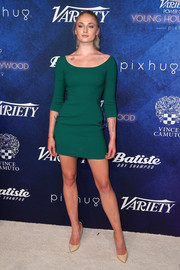 Sophie Turner went for simple sophistication in a green scoopneck mini dress by Dolce & Gabbana for her Variety Power of Young Hollywood look.