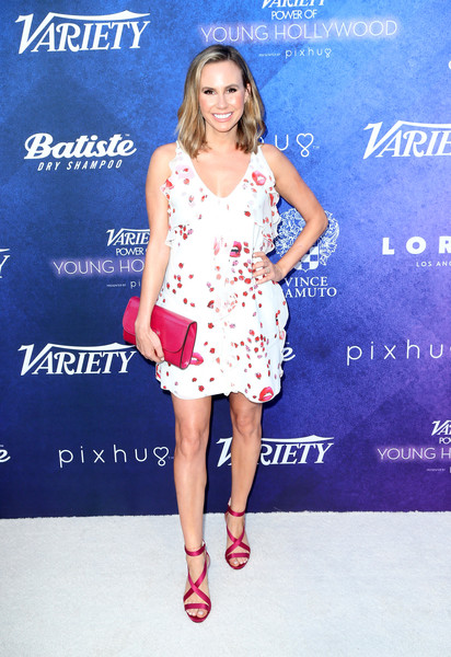 Keltie Knight added an extra pop of fuchsia with a pair of strappy satin sandals.
