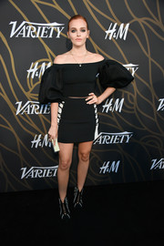 Madeline Brewer balanced out her demure top with a sexy black-and-white mini skirt, also by David Koma.