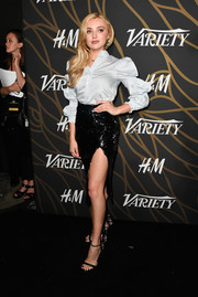 Peyton List went for a dazzling finish with a high-slit sequin skirt by Milly.