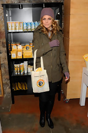 AnnaLynne McCord bundled up in a lilac beanie and matching gloves for the Sundance Film Festival.
