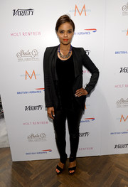 Sharon Leal looked fierce in black leather skinnies and a draped jacket during her visit to the Variety Studio.