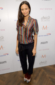 Thandie Newton stepped out in a colorful striped button-down shirt at the Variety Studio.